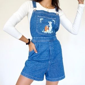 """Vtg 90s """"Lady and the Tramp"""" Embroidered Overalls"""